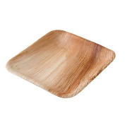 DTW05369 Disposable palm leaf plate, 25 pieces, angled, 15x15 cm, compostable