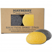 Konjac Face Sponge with Bamboo Charcoal and Turmeric - 2 Pack - 100% Natural Konjac Sponge for Improving Skin's Look and Feel - Sponges Each Come with an Attached String