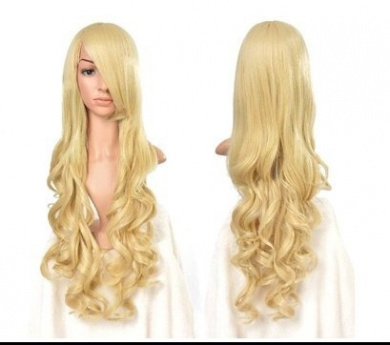 Mermaid Fashion Women Wig Heat Resistant Long Curly Hair Cosplay Anime Costume Dark Purple Full Wigs+Cap (GOLD)
