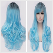 B-G 60cm Charming High Quality Long Curly Wavy Heat Resistant Synthetic Hair Wigs For Women Cosplay Party Wigs + 1 Free Wig Cap WIG097