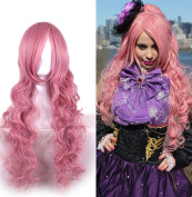 B-G Long Curly Charming Wigs Heat Resistant Synthetic Hair Wigs Women Lolita Wig for Cosplay Party (Pink) + 1 Free Wig Cap WIG098