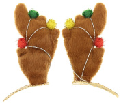 Capelli New York Ladies Reindeer Ear Snap Clips with Glitter Brown One Size