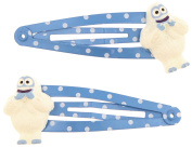 Capelli New York Ladies Polka Dot and Bumble Charm Snap Clips Blue One Size