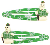 Capelli New York Ladies Snowman Charm Snap Clips Green One Size