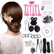 Hair Accessoriesn Kit LuckyFine Magic Hair Styling Clip Pads Foam Sponge Hairpins Bun Donut Accessory Maker Tool