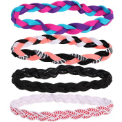 kilofly 4pc Girls Nonslip Grip Braided Headbands Teens Sports Hair Elastic Bands
