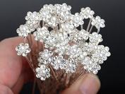 Moeni Bridal Wedding Prom Faux Small Pearl Rhinestone Crystal Flower Hair Styling U Pins 30 pcs