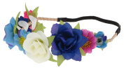 Capelli New York Ladies Flowers on Faux Suede Headwrap Multi One Size