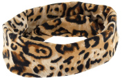 Capelli New York Ladies Leopard Print Soft Velvet Tubular Head Wrap Natural Combo One Size