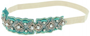 Capelli New York Ladies Fabric & Beads Bejewelled Headwrap Teal Combo One Size