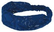 Capelli New York Ladies Triangle Print Retro Head Wrap Royal Blue One Size