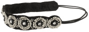 Capelli New York Ladies Stretch Head Wrap with Seed Beads and Suede Black One Size