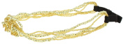Capelli New York Ladies Seed Bead Strands Head Band Gold One Size