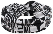 Capelli New York Ladies Nylon Jersey Tribal Print Headwrap Black Combo