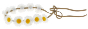 Capelli New York Ladies Daisies on Suede Tie Back Headwrap White One Size