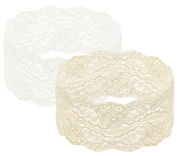 Capelli New York Ladies 2 on a Card Stretch Lace Head Wraps Beige Combo One Size