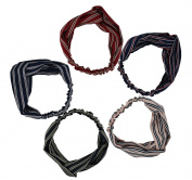 5pcs Women Stretchy Athletic Bandana Headbands Head wrap Yoga Headband Head Scarf Best Looking Head Band for Sports or Exercise FD08