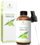 Organic Neem Oil, 100% Pure, Cold Pressed, USDA Certified Organic by RejuveNaturals, 120ml | For Hair, Skin & Nails | All Natural Anti Ageing Moisturiser, Antiseptic, Insecticide & Fungicide