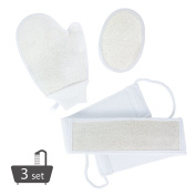 PARTYSAVNG Exfoliating Shower Bath Body Loofah Set with Back Scrubber, Pad, and Mitt, APL1350