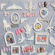 NICOLE DIARY 1Set 3D Carving Nail Art Tips Display Mini Frame Props Showcase Nail Works Dispaly Decoration