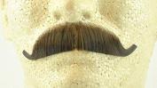 European Moustache MEDIUM BROWN - 100% Human Hair - no. 2012 - REALISTIC! Perfect for Theatre - Reusable!