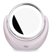 BuySShow 5x Magnification LED Light Makeup Mirror with 360°Rotating 14cm Travel Mirror screen - Bright Tap Lighted Wireless Travel Mirror / Bathroom Mirror