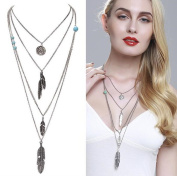 truecharms Vintage Multilayer Feather Turquoise Necklace Pendants Coin Statement Multi Layers Necklaces Collar Collier Long Coat Chain For Women