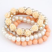 Bohemian Pearls and Flowers Multi Layer Bracelets