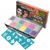 Halloween Face Paint Kit for Kids. X-Large Face Painting Set with 12 Stencils. Professional Party Palette 12 Colours, 2 Brushes, Glitter Gel, Online Guide. Safe Non-Toxic Water-Based. Covers 100s Faces