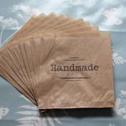 Kraft Brown 'Handmade' Paper Bag x 10 - Craft / Stall / Gifts unstrung