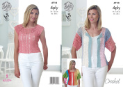 King Cole Ladies 4 Ply Crochet Pattern for Cropped Top & Short Sleeved Cardigan