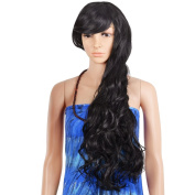 Krodi Beautiful Black Long Hair Heat Resistant Spiral Curly Cosplay Wigs,Black