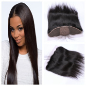 Derun Hair Best Quality 100% Virgin Brazilian Human Hair Silky Straight 41cm 13*4 Natural Colour ear to ear silk base lace Frontal Closure