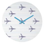 DENY Designs Vy La Aeroplanes and Stripes Round Clock, 30cm Round