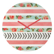 DENY Designs Allyson Johnson Round Clock, Floral Stripes and Arrows, 30cm Round