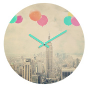 DENY Designs Maybe Sparrow Photography Balloons Over The City Round Clock, 30cm Round