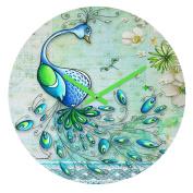 DENY Designs Madart Inc. Peacock Princess Round Clock, 30cm Round
