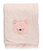 "Quiltex ""Fuzzy Teddy"" Plush Blanket - pink, one size"