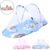 Baby Mosquito Net Crib Bed ,Oenbopo Portable Folding Baby Mosquito Bed Net Infant Nursery Bed Crib Canopy Baby Beach Tent With Little Mattress & Pillow