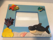Handmade Wooden Photo Picture Big Shark and Friends