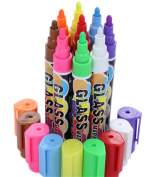 Bestwoohome Chalk Markers 8 Colour Painting Pen with 6mm Reversible Tip for Chalkboards/Glass