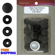 15 mm - Snap Fasteners Plain Black CT. 15 Snaps w/ Setter Tools