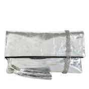JNB Women's Cracked Metallic Fabric Foldover Clutch with Tassel