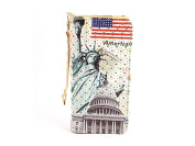 USA Print Ivory Faux Leather Zippered Wallet
