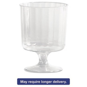 Wna - Classic Crystal Plastic Wine Glasses On Pedestals, 150ml, Clear, Fluted, 10/Pack