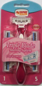 Triple Blade Disposable Razor for Women with 5 Cartridges FD