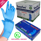 SunnyCare #8204 1000/1cases Blue Colour Nitrile Medical Exam Gloves Powder Free (Latex Vinyl Free) X-Large