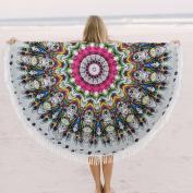 Traditional India Peacock Indian Mandala Round Roundie Beach Throw Tapestry Yoga Mat Roundie Beach Towel 180cm