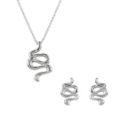 AURA BY TJM 925 STERLING SILVER & WHITE CUBIC ZIRCONIA SNAKE DESIGN EARRING/PENDANT jewellery SET