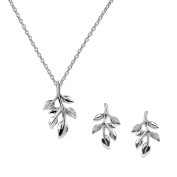 AURA BY TJM 925 STERLING SILVER & WHITE CUBIC ZIRCONIA FLORAL DESIGN EARRING/PENDANT jewellery SET